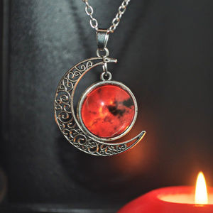 Silver Filigree Crescent Blood Moon Dome Necklace